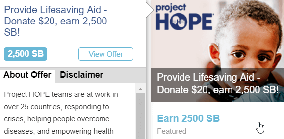 swagbucks donation example