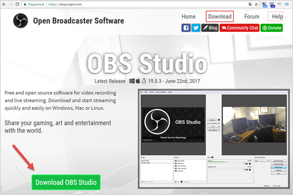 скачать Open Broadcaster Software