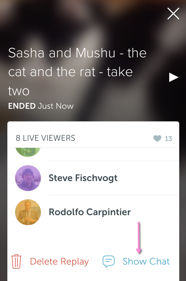 How to show/hide chat during Periscope broadcast replay