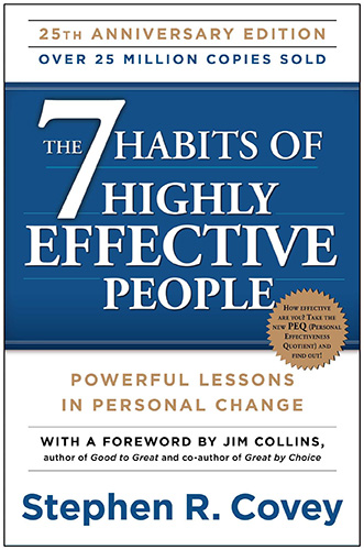 A book cover for the 7 habits of highly effective people, one of the best self development books on the market.